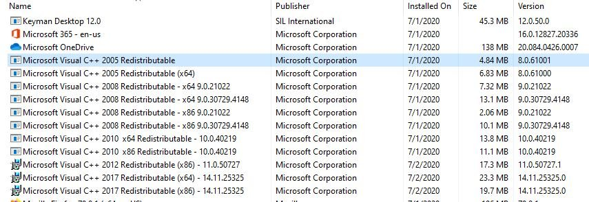 VC++ Installations on My Laptop.JPG